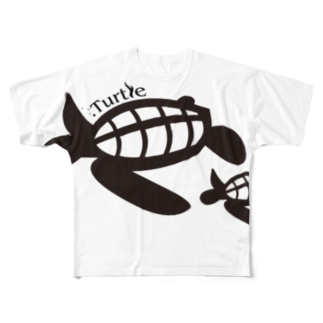 Turtle-Black Full graphic T-shirts