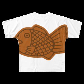 犬田猫三郎のたい焼き Full graphic T-shirts