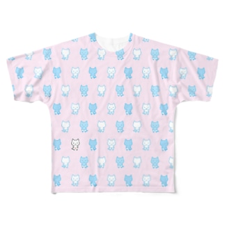 ねこぱんつ柄ピンクと水色 Full graphic T-shirts