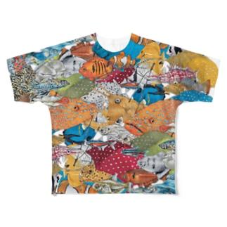 『サカナ、微カナ傘』 Full graphic T-shirts