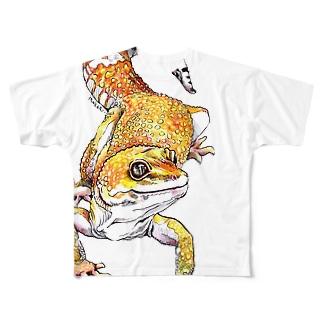 レオパードゲッコー Full graphic T-shirts
