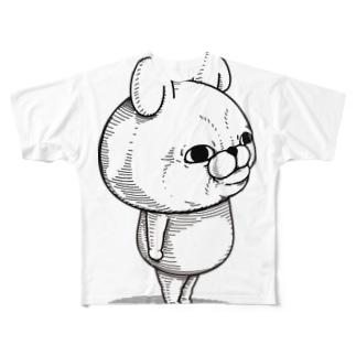 うさぎ&くま100%リアルTシャツ Full graphic T-shirts