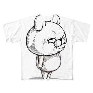 うさぎ100%リアル上目遣い Full graphic T-shirts