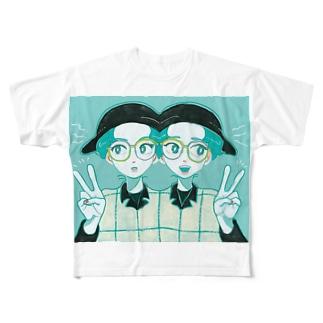 アシメトリーTWINS Full graphic T-shirts