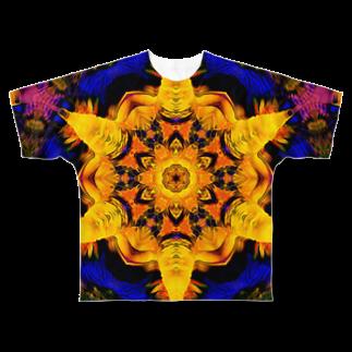 アオムラサキのヘキサグラム_001 Full graphic T-shirts
