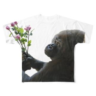 「好きです」 告白ゴリラくん Full graphic T-shirts