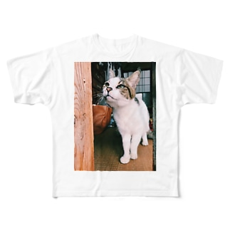 緑の目の猫 Full graphic T-shirts