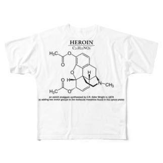 ヘロイン(麻薬の一種、コカイン・モルヒネなど):化学:化学構造・分子式 Full graphic T-shirts