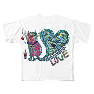 猫の神様 Full graphic T-shirts