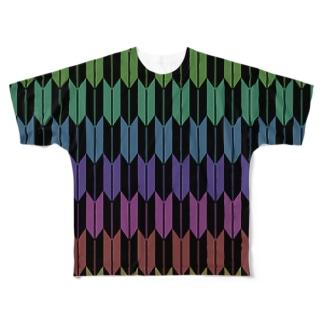 Yagasuri(Vintage Rainbow - Black) Full graphic T-shirts