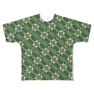 モルモット柄緑 Full graphic T-shirts