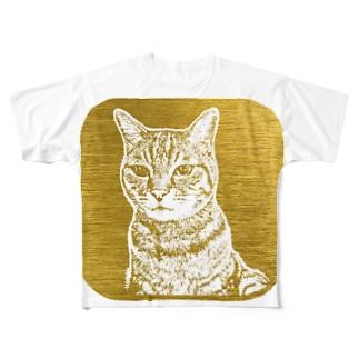 ちょび 金色 Full graphic T-shirts