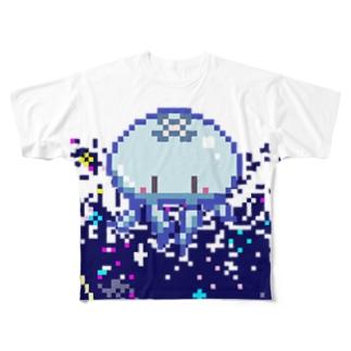 ドッド絵ミズクラゲ Full graphic T-shirts
