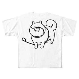ひもにまかれた犬 Full graphic T-shirts