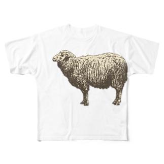 もこもこウールのひつじくん Full graphic T-shirts