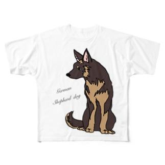 おすわりシェパード Full graphic T-shirts