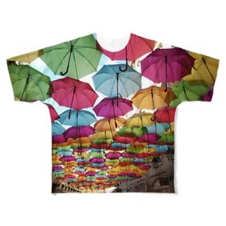 レインボーアンブレラ Full graphic T-shirts