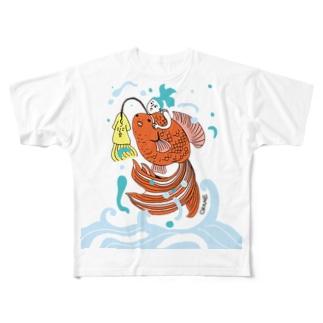 跳ね金魚 Full graphic T-shirts