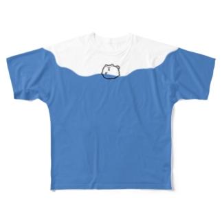骨を取りに大海原で犬かきをするポメラニアン Full graphic T-shirts