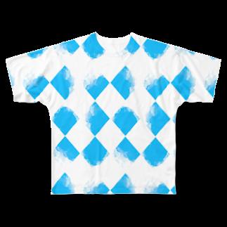 唐松 梗樹(カラマツ コウキ)の青ちょきちょき Full graphic T-shirts