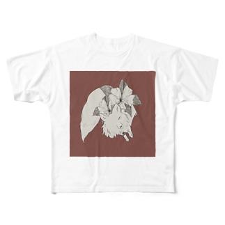 ゆるのきつねくん Full graphic T-shirts