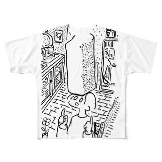 焼きたてのパンで遊ぶ女 Full graphic T-shirts