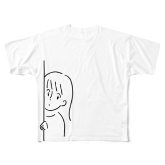 ひょっこりちゃん Full graphic T-shirts