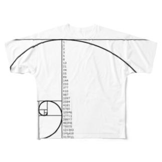フィボナッチ数列右巻数字入 Full graphic T-shirts