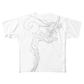 ドラゴン3塗り絵デザイン Full graphic T-shirts
