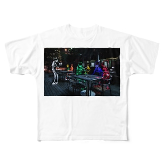 "816photographyのライトペイントアート""midnight cafe"" Full graphic T-shirts"