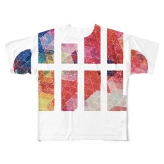 小川ハル ロゴB Full graphic T-shirts