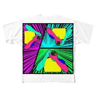 カメラマン(集中線) Full graphic T-shirts