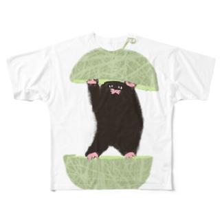 もぐらのおぐらさん メロン Full graphic T-shirts