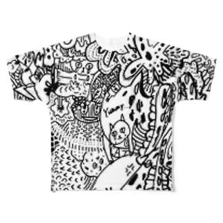 にじいろつぶつぶゼンタングル Full graphic T-shirts