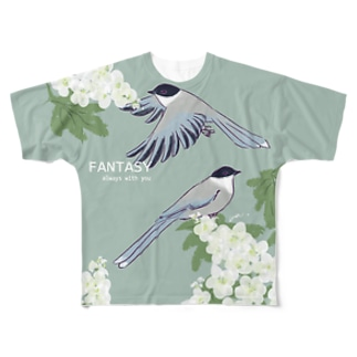 オナガと紫陽花 Full graphic T-shirts