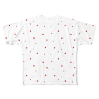 【No Asejimi】花柄 vivid Full graphic T-shirts