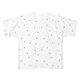 【No Asejimi】花柄 soft Full graphic T-shirts