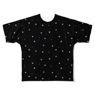【No Asejimi】花柄 summer-BK Full graphic T-shirts
