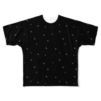【No Asejimi】花柄 deep-BK Full graphic T-shirts