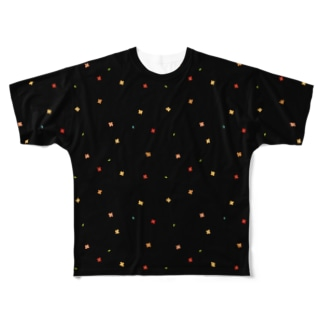 【No Asejimi】花柄 warm-BK Full graphic T-shirts
