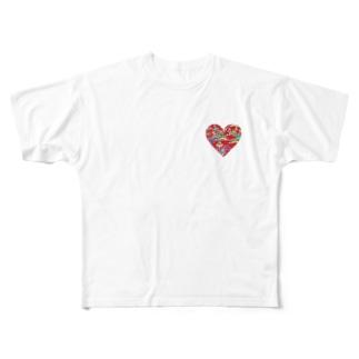 赤の紅型ハート Full graphic T-shirts