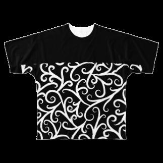 Y. CRESTのNo Asejimi - Vine patt E white Full graphic T-shirts