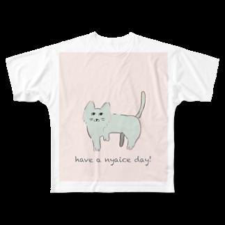 MoFのゆるねこパステル もじ入り Full graphic T-shirts