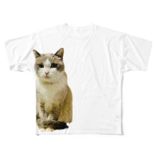 お利口さんネコ☆Riku Full graphic T-shirts