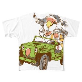 見境ないコザクラ&キンカ隊員 Full graphic T-shirts