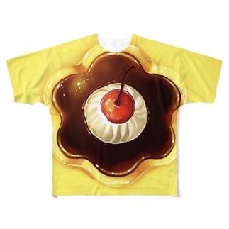 プリンのやつ Full graphic T-shirts