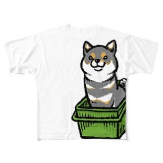 カゴ入り黒柴 Full graphic T-shirts