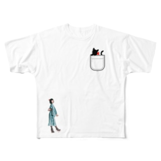 Yukata Cat Full graphic T-shirts