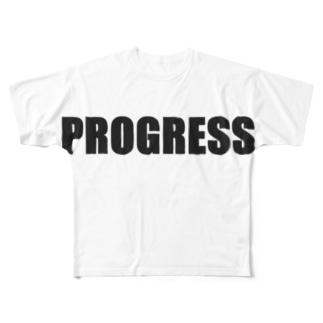 PROGRESS黒 Full graphic T-shirts