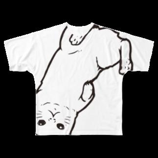 水道橋ですらのさかさ猫(ビッグモノクロ) Full graphic T-shirts